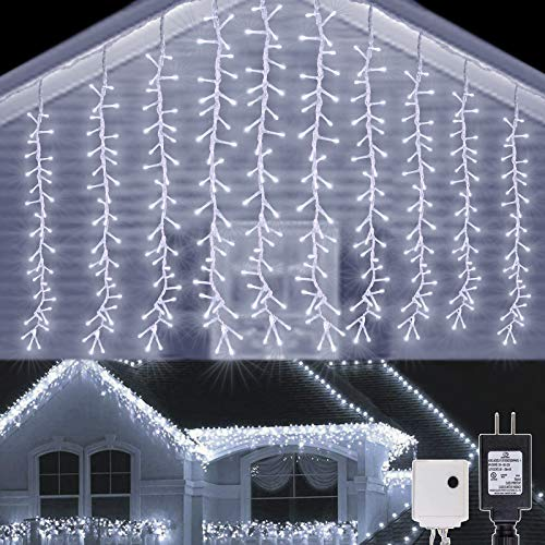 AWQ 320LED 9.8ftx2.3ft Icicle Cluster String Lights 8 Lighting Modes Fairy Lights Plug in Waterproof LED Lights for Christmas Wedding Party Home Garden Outdoor Indoor Wall Decorations(White)