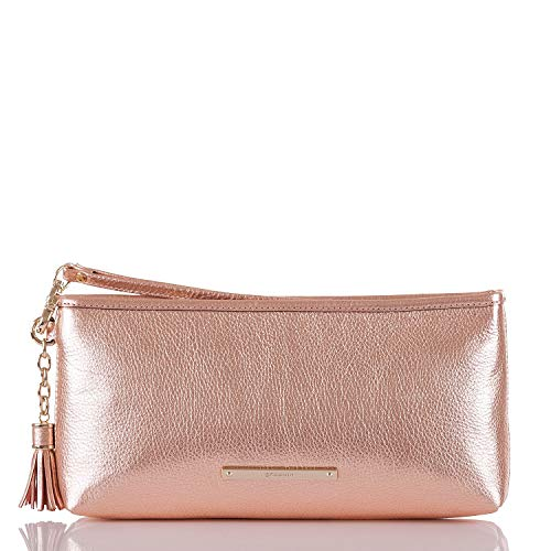 Brahmin Kayla Metallic Pebble leather Wristlet Clutch Rose Gold Moonlit