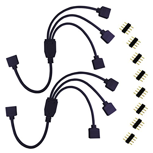 LitaElek 2pcs Cable Divisor LED RGB de 4 Pines LED Strip Splitter Conector de Cinta LED Cable Conector Banda LED 1 a 3 Puertos Cable de Conexión para RGB 5050 3528 2835 LED Strip, Negro