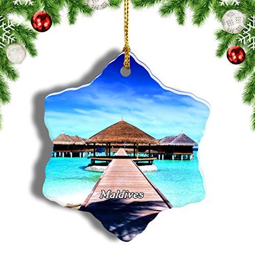Weekino Sheraton Full Moon Island Maldives Christmas Ornament Travel Souvenir Tree Hanging Pendant Decoration Porcelain 3' Double Sided