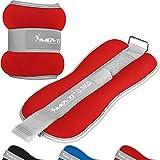 Movit® 2er Set Gewichtsmanschetten Neopren mit Reflektormaterial und Frottee-Einsatz Laufgewichte für Hand- und Fußgelenke 2X 3,0 kg rot