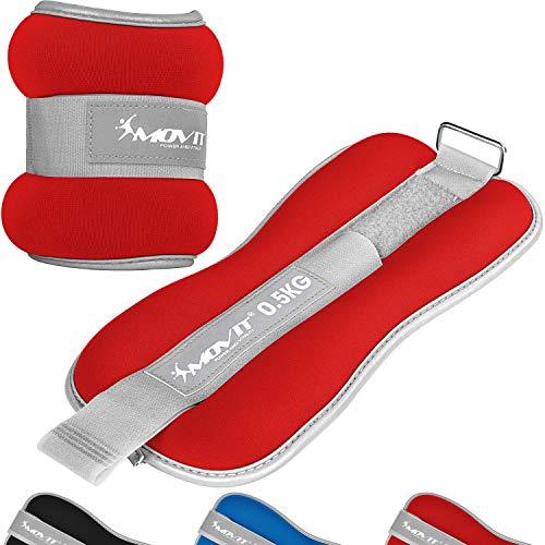 Movit® 2er Set Gewichtsmanschetten Neopren mit Reflektormaterial und Frottee-Einsatz Laufgewichte für Hand- und Fußgelenke 2X 2,0 kg rot