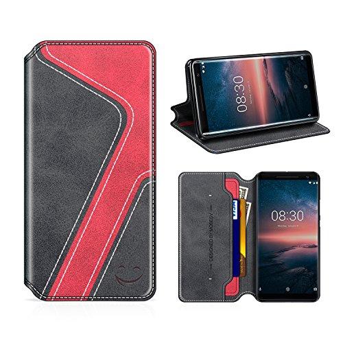 MOBESV Smiley Nokia 8 Sirocco Hülle Leder, Nokia 8 Sirocco Tasche Lederhülle/Wallet Hülle/Ledertasche Handyhülle/Schutzhülle mit Kartenfach für Nokia 8 Sirocco, Schwarz/Rot