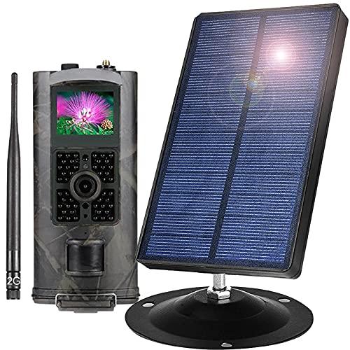 Panel Solar Cámara De Caza 16MP 1080P Sensor De Movimiento Visión Nocturna Diseño Impermeable Cámara De Fototrampeo con Detección para Monitoreo De Vida Silvestre