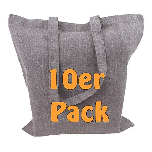 Cottonbagjoe Recyclingtasche aus recycelter Baumwolle Öko - Baumwolltaschen robust mit dickem Stoff und Langen Henkeln (Grau, 10 Stück)