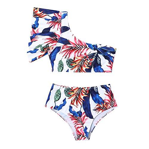 Gybify Bikini de cintura alta para mujer, juego de 3 piezas, diseño de flores, traje de baño con vestido de playa amarillo XL