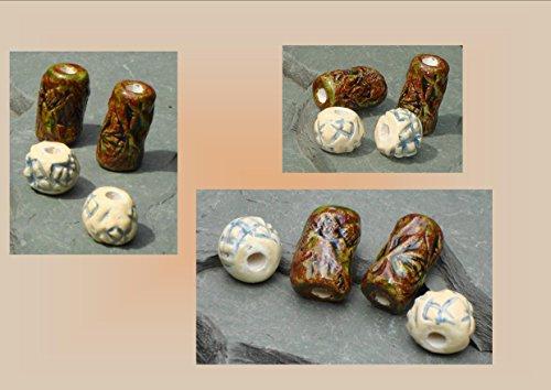 Beads, Dread Beads, Hair Accessories, Large Moss Brown Green Cream Beads, Ceramic Pottery Beads, Handmade Clay Beads