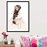 hetingyue DIY Pintar por números Chica Bonita DIY Pintura al óleo Pintura por Número de Kits decoración del Arte de la Pared 30x40cm