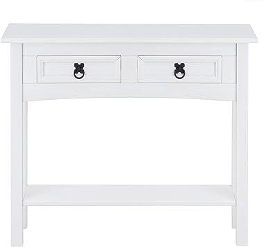 IDIMEX Table Console Rural Table d'appoint rectangulaire en pin Massif Blanc avec 2 tiroirs et 1 étagère, Meuble d'en