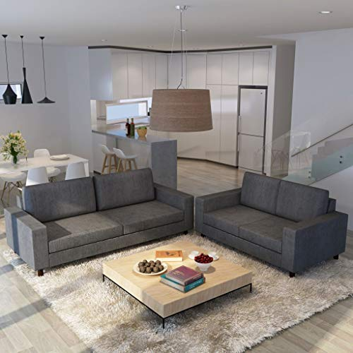vidaXL Conjunto de sofás para 5 pessoas 2 pcs tecido cinzento escuro