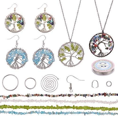 SUNNYCLUE DIY Tree of Life Jewelry Making Kit with Iron Linking Rings Mixed Stone Beads Stainless product image