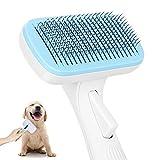 Yiomxhi Hundebürste Katzenbürste, Selbstreinigende Haustier Bürste mit Einem Knopf, Hundefellbürste Fellpflege, Zupfbürste Entfernt Unterwolle Kurzhaar, Bürste Hund Katzen für Massagen (Feine Nadel)