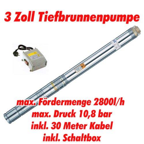 """Agora-Tec® AT- 3\"""" Brunnenpumpe 750W mit 30 m Kabel Edelstahl-Tiefbrunnenpumpe mit max: 10,8 bar, 3200l/h"""