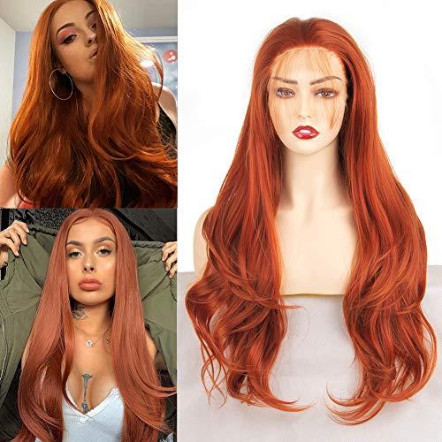 Xtrend 24 Zoll Kupfer Lace Front Perücke Lang Curly Wavy Synthetische Hitzebeständige Faser Haare Natürlich aussehend Glueless Free Teil Ersatz Auburn Red Loose Wave Perücken für Frauen 30#