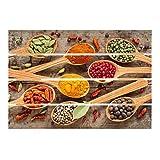 Bilderwelten Cuadro de Madera - Spices On Wooden Spoon 48x70cm