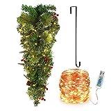 Árbol de Navidad Artificial Árbol de Navidad Flocado Colgante con Bayas Rojas Cono de Pino Aguja de Pino de Simulación Luces de Hadas Blancas Cálidas Cadena de Luces LED Gancho en Forma S