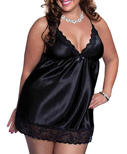 Moonight Sexy Plus Size Babydoll Lingerie Set Satin Sleepwear G-String Black