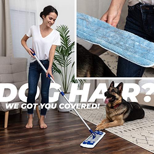 Microfiber Hardwood Floor Mop - Dust Mop For Hardwood Floor Cleaning - Advanced Wet & Dry Flat Microfiber Mop For Hardwood Floors - 3 Drag Resistant Pad Kit Suitable As Dust Mops For Hardwood Floors