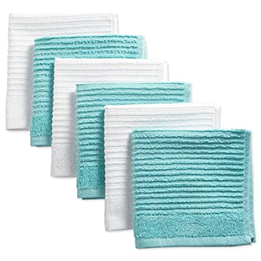 DII Cotton Luxury Ribbed Terry Dish Cloths, 12 x 12  Set of 6, Ultra-Absorbent Cleaning Drying Kitchen Towels-Aqua/White
