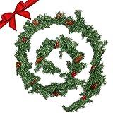 BELLE VOUS Guirnalda Navidad - 2,7 m Guirnalda Verde Navidad Artificial con 8 Conos de Pino y 8 Bayas Rojas - Guirnalda Navidad Chimenea, Pasamanos, Interior, Exterior - Decoración Hogar Fiestas
