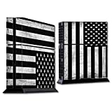 Skins Wrap for PS4 Sony Playstion Console - Protective Decal Overlay stickers skins cover - Black White Grunge Flag USA America