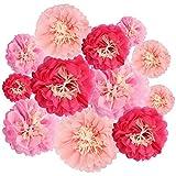 Flor de Papel Crisantemo (12 Piezas) - Flores de Papel Decoracion 4 Tamaños Diferentes 15cm, 20cm, 24,3cm y 30,5cm - 3 Colores Diferentes – Perfecto para Bodas, Despedida de Soltera y Decoración
