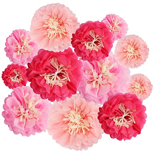 BELLE VOUS Seidenpapier Papier Blumen (12 STK) - Papierblumen in 4 verschiedenen Größen für Hochzeit Geburtstag Tischdeko Baby Shower Party Wand Dekoration