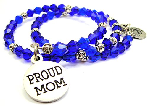 Chubby Chico Charms Proud Mom Bicone Crystal Wrap Bracelet in Sapphire Blue