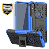 Moto E6 Case, with HD Screen Protector, SKTGSLMY [Shockproof] Tough Rugged Dual Layer Protective Case Hybrid Kickstand Cover for Motorola Moto E6 (Blue)