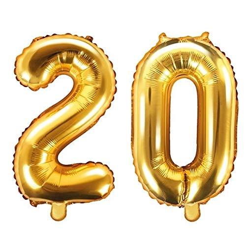 Ballon XXL en aluminium avec chiffre 20 en doré - Décoration pour anniversaire 20 ans