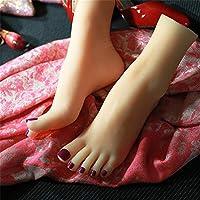 Yongqin シリコンフットモデル1ペアリアルなシリコンマネキンフット、36Aシミュレーション女性の足、シリコンビューティーフットTpeフットモールドフィートモールドリアルテクスチャホワイトカラージェイドフットモールド。