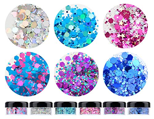 HITOP Cosmetic Glitter for Nail Face and Body,6 Colors 113g 3.99oz Holographic Chunky Glitter for Crafts Resin Tumblers Hair Eyeshadow