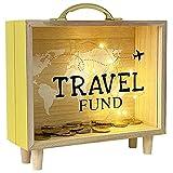 HautStore Hucha con Forma de Caja, Marco de Madera Moneda de Cristal Transparente Holiday Fund Hogar Oficina Tienda Muebles Decoración Interiores Accesorios Regalar 21.5 x 18.5 x 7 cm