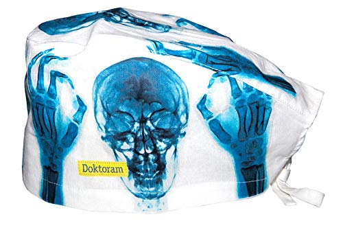 DOKTORAM Skull Cap X-ray White Head Color Funny Prints Unisex hat with Sweatband Bouffant Turban