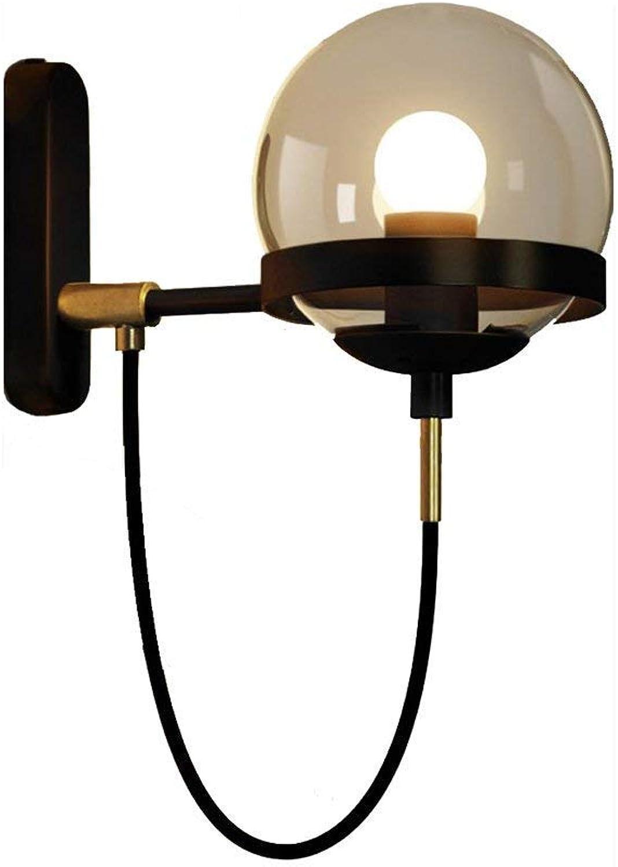 Chenyaohaiyu Retro Glas American Glass Ball Wandleuchte Moderne Einfache Kupfer Metall Schlafzimmer Wohnzimmer Cafe Hotel Beleuchtung Wandleuchte (Farbe   schwarz)