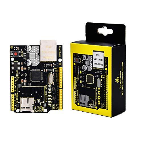 KEYESTUDIO W5100 - Scheda di rete Ethernet per Arduino Expansion Board Module con slot per scheda SD compatibile con Arduino U&O MEGA2560 R3 ATMega 328 MEGA 1280