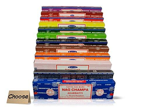Satya Auténtico SAI BABA – Variedad NAG Champa mezcla de 12 x 15 g cajas de incienso, incluye campa Nag, rosa, salvia blanca, patchouli, madera de sándalo, tulsi, lavanda, almizcle, opium, jasmín, champa y vanila