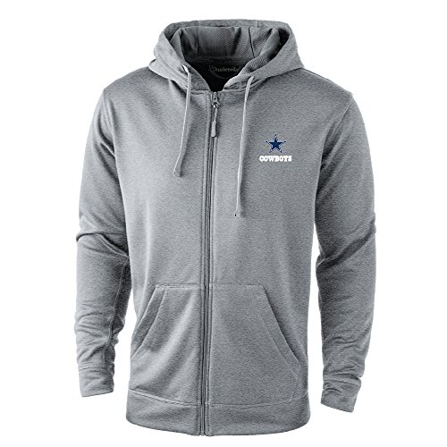 NFL Dallas Cowboys Trophy Tech Fleece Full Zip Hoodie, Large, Grey