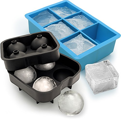 igadgitz Home U6797-KIT Silicone Cube Tray 6X Extra Large Square & Ice Mould 4X Sphere Ice Rounds Ball Maker for Cocktail, Whiskey, Liquor & Other Drink