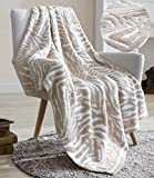 Snuggle Sac Textured Knitted Ultra Soft Throw Blanket, Zebra Stripes Pattern Air Feel Cozy Warm Throw Blanket for Bed/Sofa/Couch in All Seasons (Moonlight, 50' x 60')