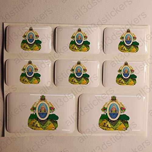 Pegatinas Honduras Resina Escudo de Armas, 8 x Pegatinas Relieve 3D Honduras Adhesivo Vinilo