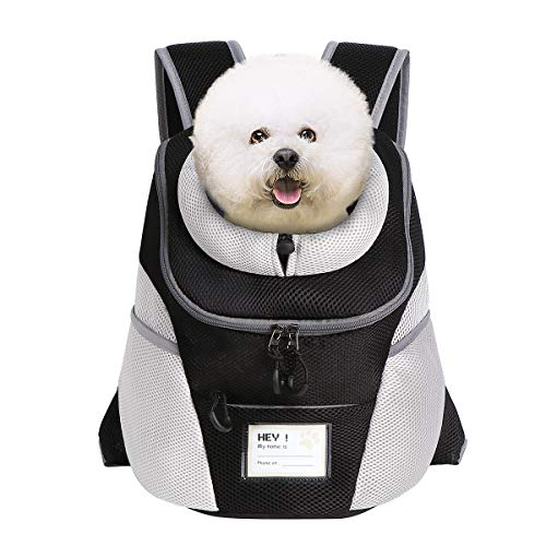 ENNEFU Comfortable Dog Cat Carrier Backpack Puppy Pet Front Pack with Breathable Head Out Design and Padded Shoulder for Hiking Outdoor Travel (001-gy2)