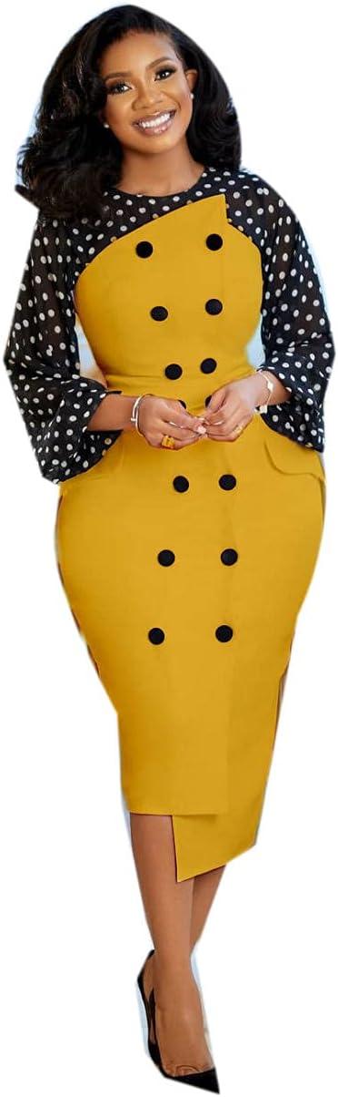 Women's Splicing Bodycon Dress Long Sleeve Fashion Printing Office Business Formal Work Pencil Dress-yelliow_XL