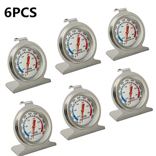Kitchen Oven Thermometer 6 Pack Stainless Steel Monitoring Cooking Thermometer, 100 to 600 degrees F Temperature Range