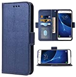 Phone Case for Samsung Galaxy J7 2015 Folio Flip Wallet Case,PU Leather Credit Card Holder Slots Heavy Duty Full Body Protection Kickstand Protective Phone Cover for Glaxay GalaxyJ7 SM J700 Cases Blue