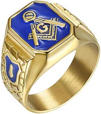 IFUAQZ Men s Stainless Steel Gold Plated Freemason Symbol Masonic Rings Blue G Lodge Master product image