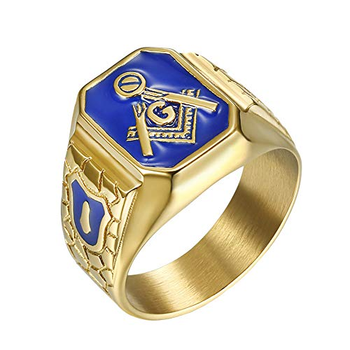 IFUAQZ Men's Stainless Steel Gold Plated Freemason Symbol Masonic Rings Blue G Lodge Master Mason Signet Biker Band Size 10