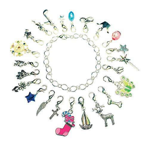 La Perla di SaWi  24 Teile Charm-Anhänger Füllung für Adventskalender Silber-schmuck für Mädchen & Frauen Advents-Kalender (24 Charms & Armband)