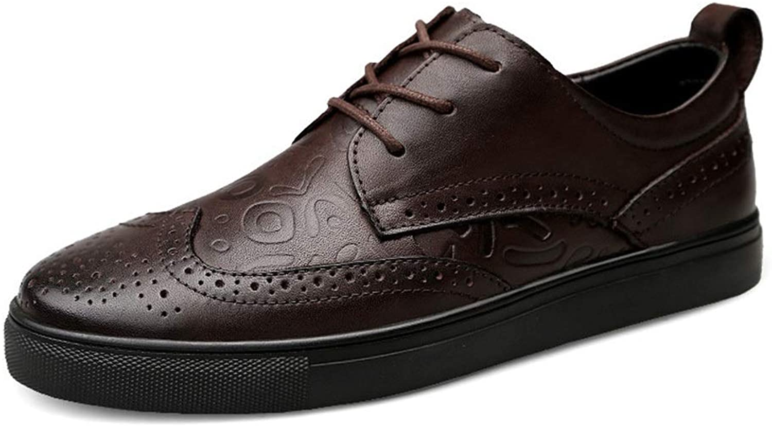Board shoes Men's Leather Carved Business Low Help Size 24.0cm-28.5cm Brown shoes Leisure