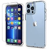 SHIELDON Funda Compatible con iPhone 13 Pro MAX, [Protector de Pantalla] [Tira a Prueba de Golpes] [Antiarañazos], Funda Claro con PC Dura+Suave TPU para iPhone 13 Pro MAX 5G(6.7',2021), Transparente